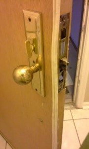 This is the knob handle lock on the inside of the door after the installation.