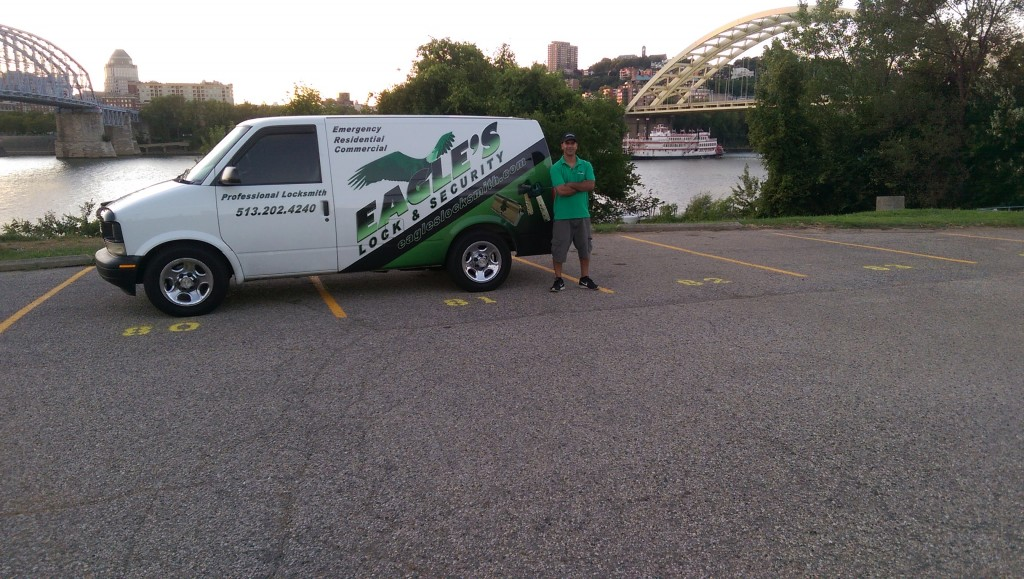 Eagle's locksmith van on Cincinnati background